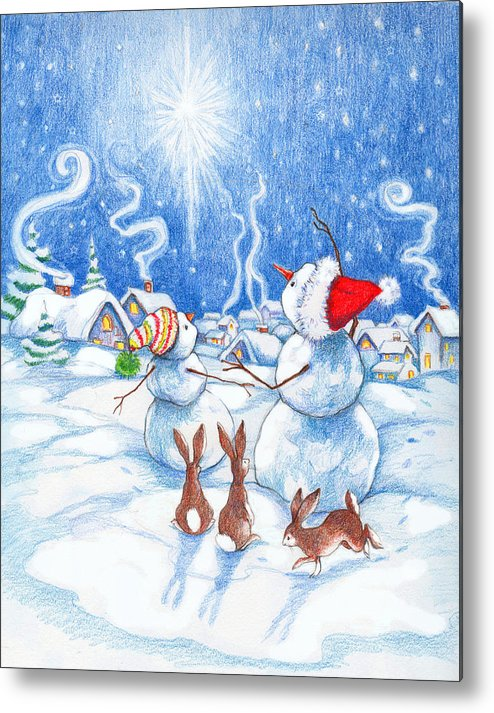 Snowmen Metal Print featuring the painting Snowmen And Christmas Star by Peggy Wilson