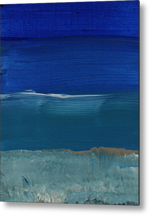 Abstract Art Metal Print featuring the painting Soft Crashing Waves- Abstract Landscape by Linda Woods