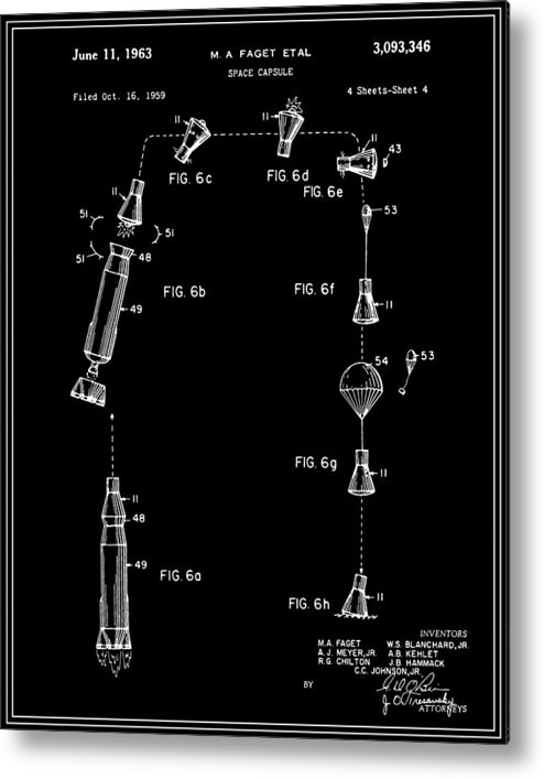 Patent Metal Print featuring the digital art Space Capsule Patent - V2 - Black by Finlay McNevin