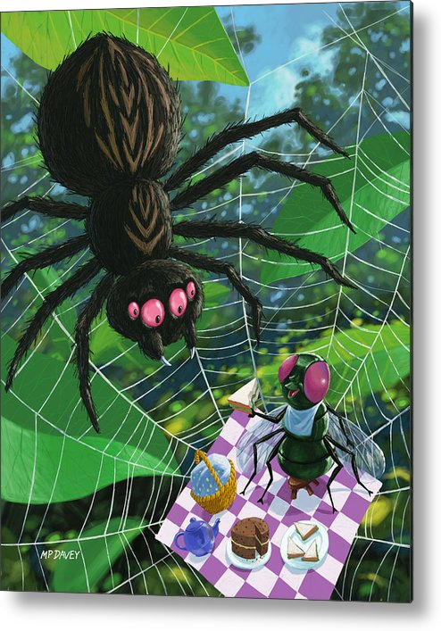 Picnic Metal Print featuring the painting Spider Picnic by Martin Davey