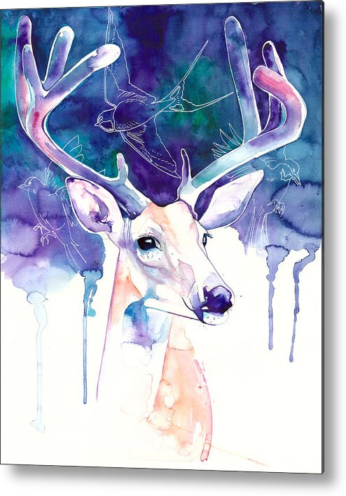 Metal Print featuring the painting Stag by Laura Slade