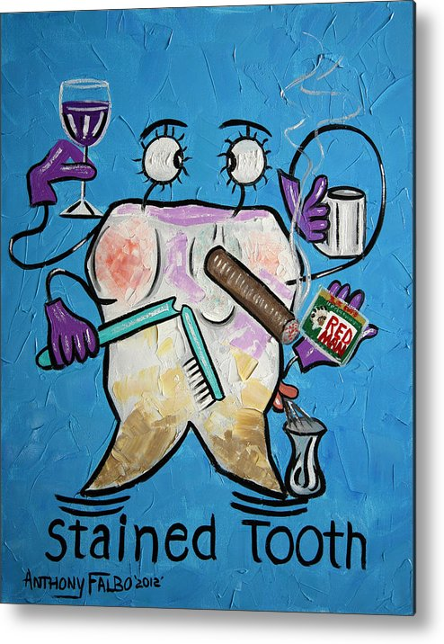 Stained Tooth Framed Prints Metal Print featuring the painting Stained Tooth by Anthony Falbo