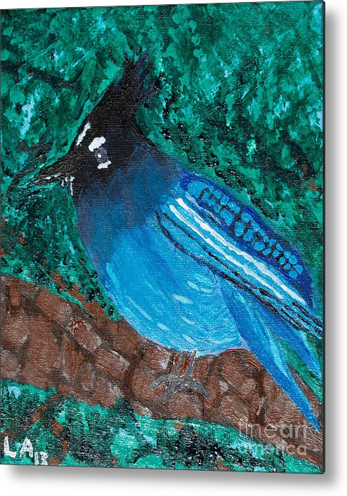 Stellar's Jay Metal Print featuring the painting Stellar's Jay by Lloyd Alexander