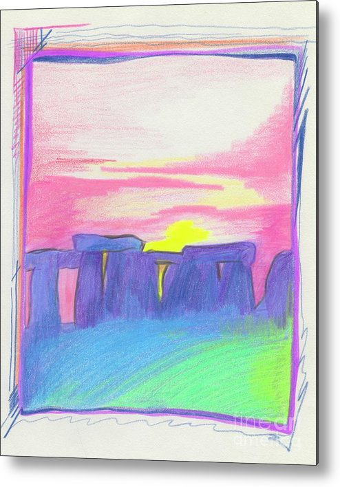 Stonehenge Metal Print featuring the drawing Stonehenge by First Star Art