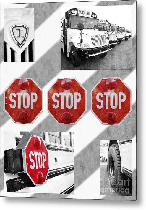 Bus Metal Print featuring the photograph Stop For Students Painterly Bw Red Signs by Andee Design