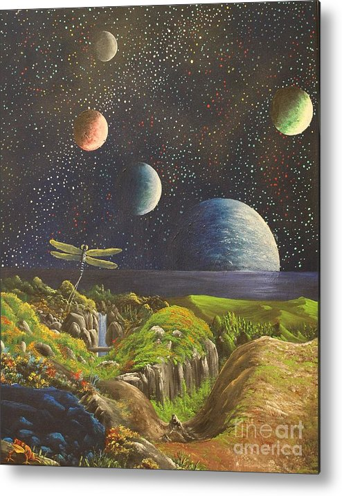 Metal Print featuring the painting Strange. New. Worlds by James Taylor