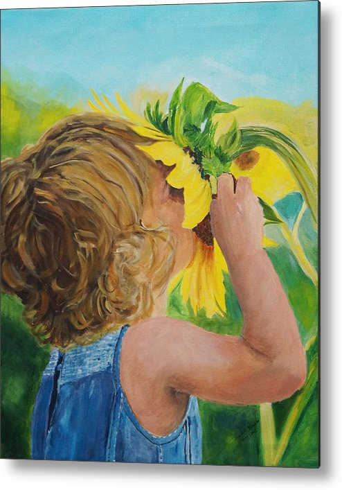 Sunflower Metal Print featuring the painting Sunflower Annie by Frankie Picasso