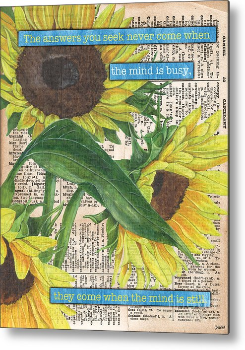 Floral Metal Print featuring the painting Sunflower Dictionary 1 by Debbie DeWitt