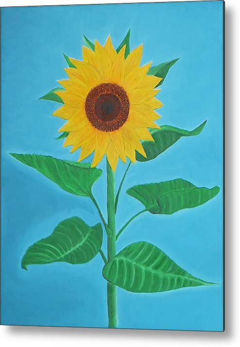 Sunflower Metal Print featuring the painting Sunflower by Sven Fischer