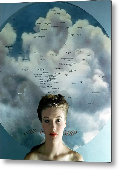 Fashion Metal Print featuring the photograph Susan Shaw In Front Of An Azimuthal Map by John Rawlings