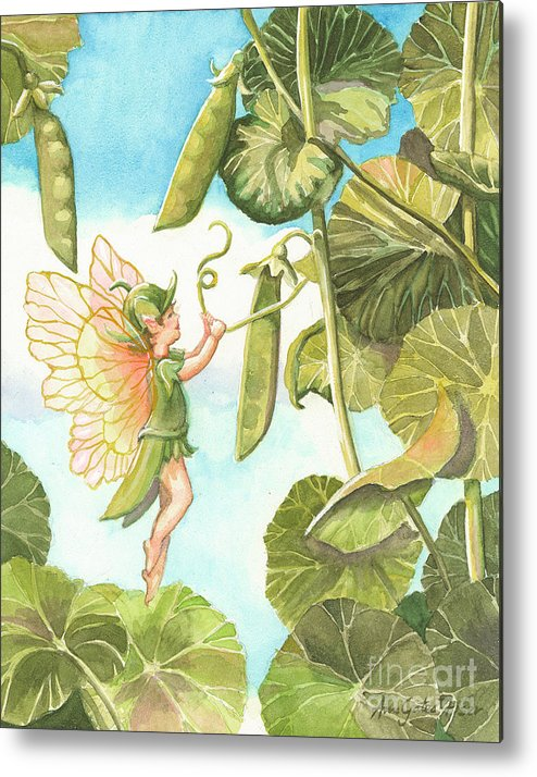 Fairy Metal Print featuring the painting Sweet Pea by Ann Gates Fiser