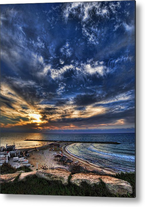 Israel Metal Print featuring the photograph Tel Aviv Sunset At Hilton Beach by Ron Shoshani