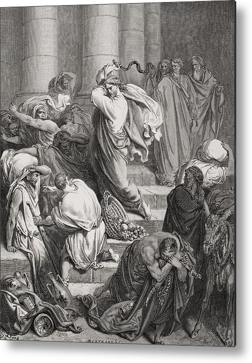 Jesus Metal Print featuring the painting The Buyers And Sellers Driven Out Of The Temple by Gustave Dore