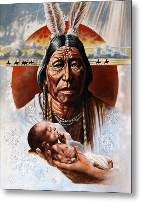 American Native Metal Print featuring the painting The Circle Of Life by John Lautermilch