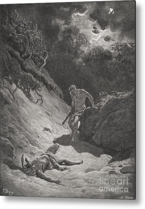 Cain Metal Print featuring the painting The Death Of Abel by Gustave Dore