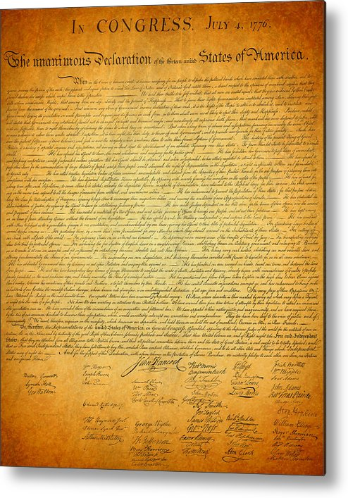 Declaration Metal Print featuring the mixed media The Declaration Of Independence - America's Founding Document by Design Turnpike