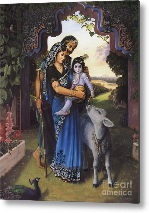 Krishna Art Metal Print featuring the painting The Divine Family by Vishnudas Art