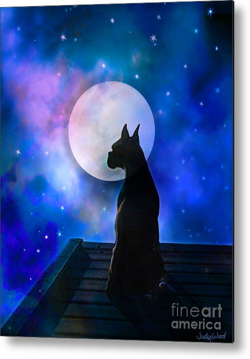 Dog Metal Print featuring the digital art The Dock At The Edge Of The Universe by Judy Wood