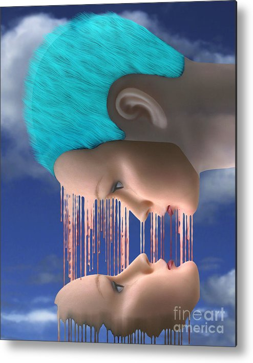 Surreal Digital Image Metal Print featuring the digital art The Melding by Keith Dillon