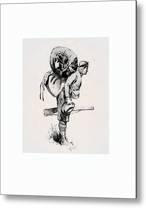 Western Metal Print featuring the drawing The Pack by Frederic Remington
