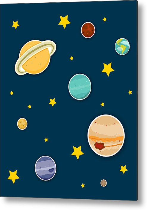 Planets Metal Print featuring the digital art The Planets by Christy Beckwith