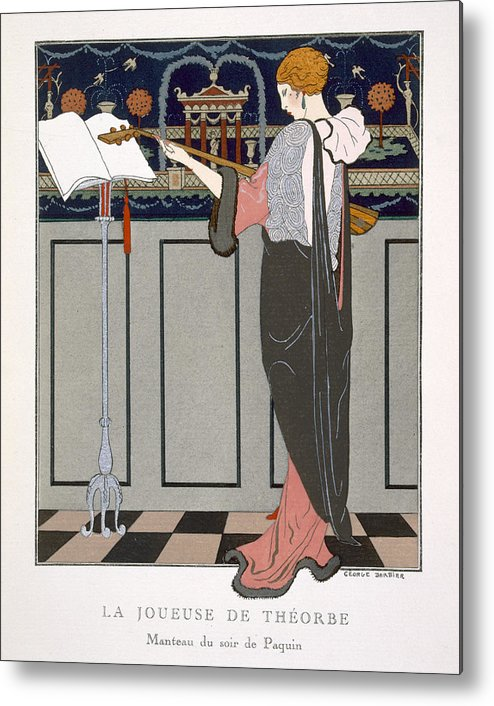 Theorbe Metal Print featuring the painting The Theorbo Player by Georges Barbier