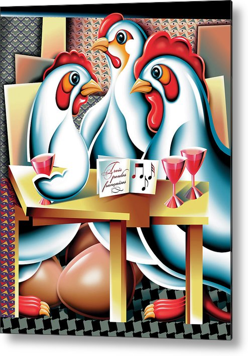 Animals Hens Poultry Picasso Fun Metal Print featuring the digital art Three French Hens After Picasso by Michael Monaghan