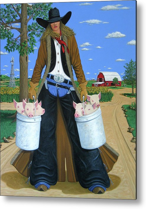 Little Piglets Metal Print featuring the painting Tickled Pink by Lance Headlee