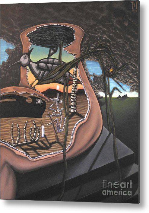 Surreal Metal Print featuring the painting To Kick A Sleeping Dog by Mack Galixtar