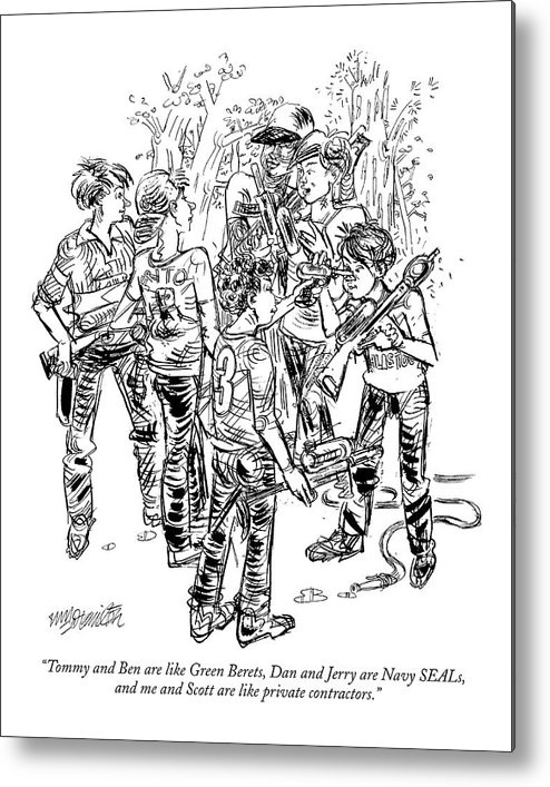 Military Business Children Games   (group Of Kids Playing With Water Pistols.) 119393 Whm William Hamilton Metal Print featuring the drawing Tommy And Ben Are Like Green Berets by William Hamilton