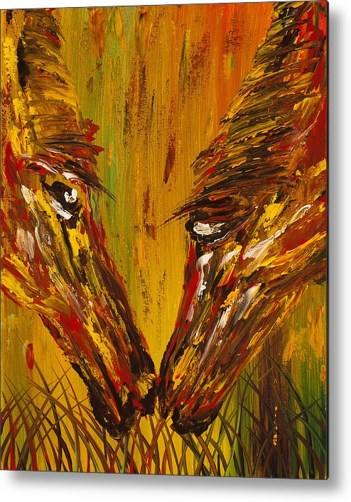 Horse Metal Print featuring the painting Unconditional Connection by Nandita Albright
