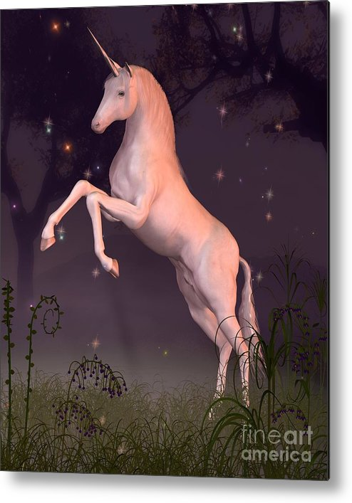 Unicorn Metal Print featuring the digital art Unicorn In A Moonlit Forest Glade by Fairy Fantasies