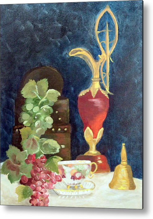 Vase Metal Print featuring the painting Vase With Grapes by Vickie Black