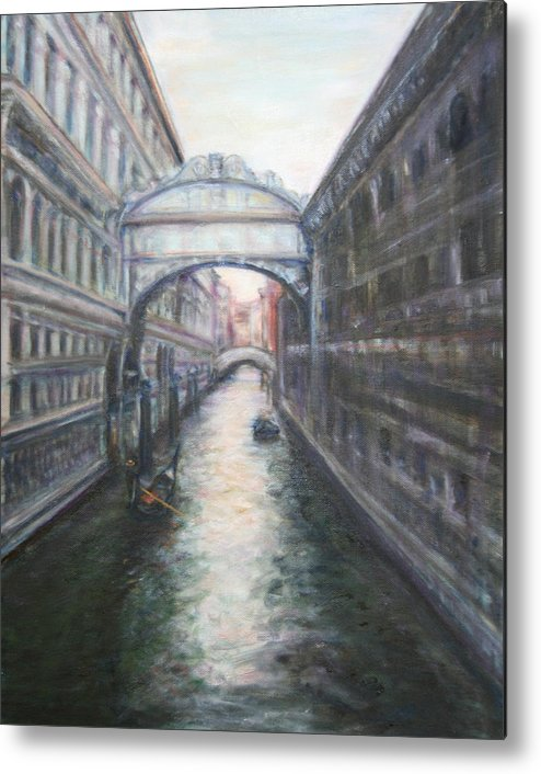 Boat Metal Print featuring the painting Venice Bridge Of Sighs - Original Oil Painting by Quin Sweetman