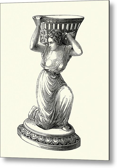 Engraving Metal Print featuring the drawing Victorian Decor, Statue Of  Awoman Holding A Basket by