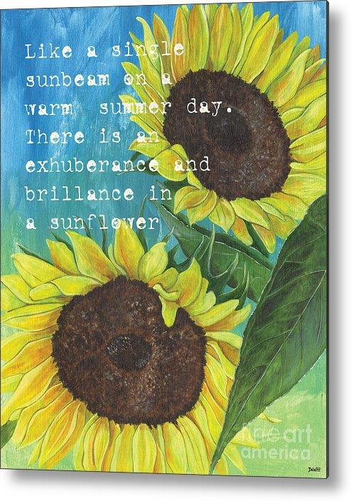 Flowers Metal Print featuring the painting Vince's Sunflowers 1 by Debbie DeWitt