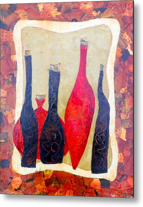 Bottles Metal Print featuring the painting Vino 1 by Phiddy Webb