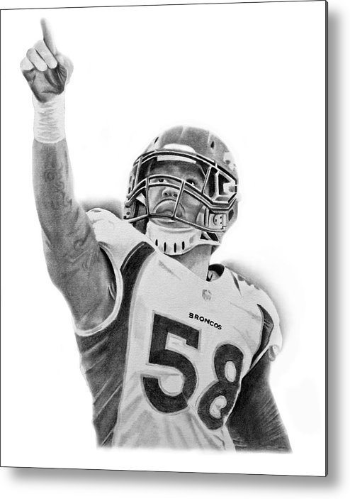 Nfl Metal Print featuring the drawing Von Miller by Don Medina