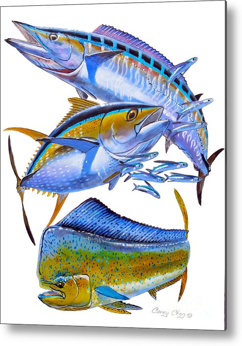 Wahoo Metal Print featuring the painting Wahoo Tuna Dolphin by Carey Chen