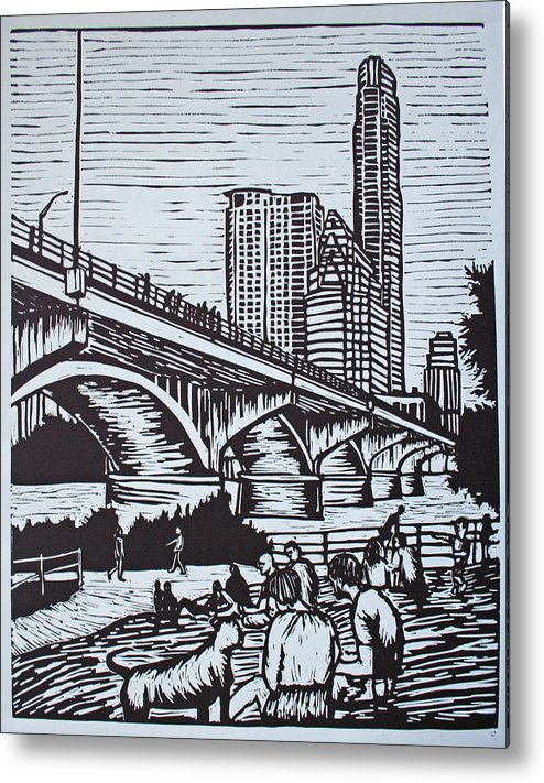 Austin. Bats Metal Print featuring the drawing Waiting For The Bats by William Cauthern