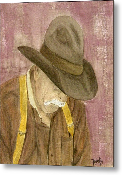 Western Metal Print featuring the painting Walter by Regan J Smith