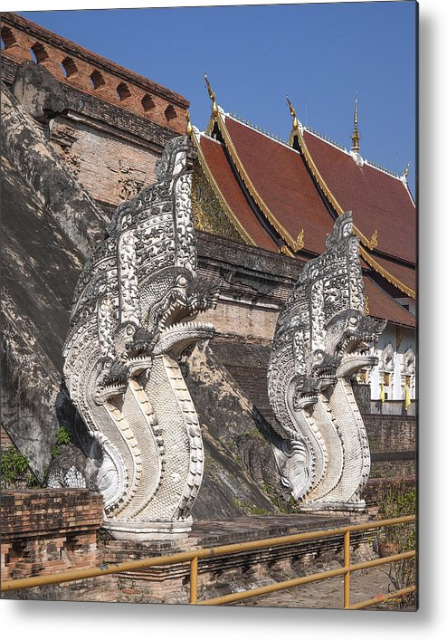 Thailand Metal Print featuring the photograph Wat Chedi Luang Phra Chedi Luang Five-headed Naga Dthcm0052 by Gerry Gantt