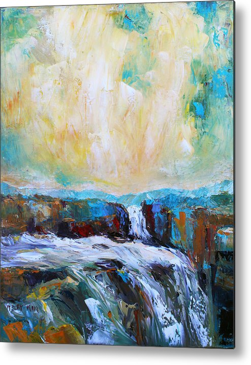 Landscape. Oil Metal Print featuring the painting Waterfalls 2 by Becky Kim