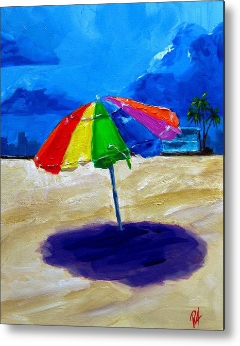 Art Metal Print featuring the painting We Left The Umbrella Under The Storm by Patricia Awapara