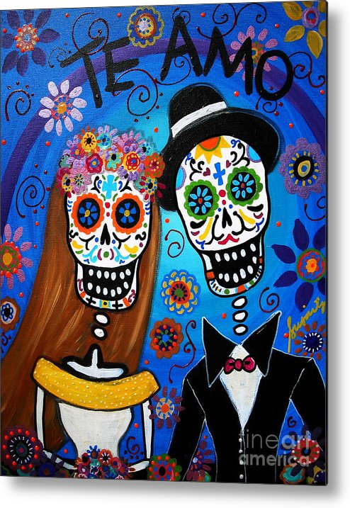 Wedding Metal Print featuring the painting Wedding Couple by Pristine Cartera Turkus