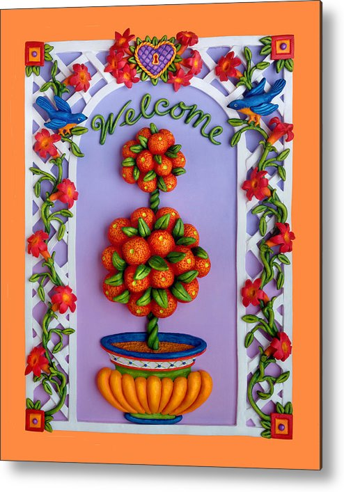 Garden Scene Metal Print featuring the mixed media Welcome by Amy Vangsgard