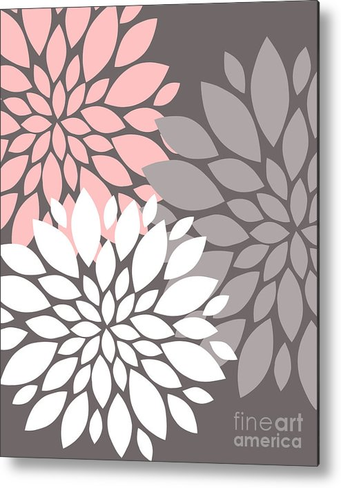 Pink Metal Print featuring the digital art White Pink Gray Peony Flowers by Voros Edit