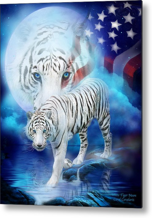 Carol Cavalaris Metal Print featuring the mixed media White Tiger Moon - Patriotic by Carol Cavalaris