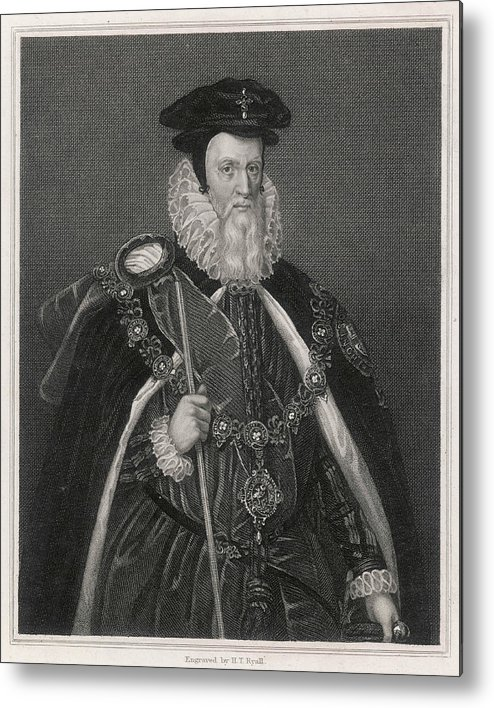 William Metal Print featuring the drawing William Cecil Lord Burghley Statesman by Mary Evans Picture Library