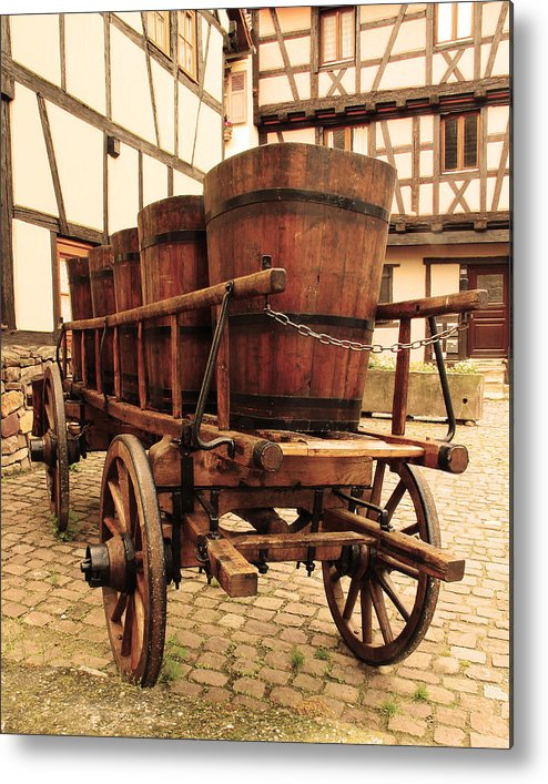 Wine Cart Metal Print featuring the photograph Wine Cart In Alsace France by Greg Matchick